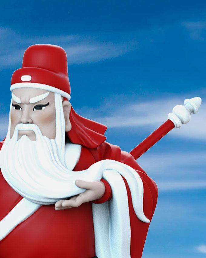 """圣诞版""""关公""""模型玩具细节"""