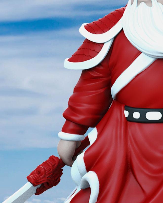 """圣诞版""""关公""""模型玩具细节2"""