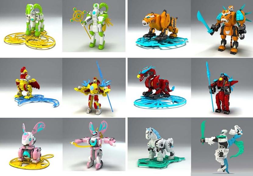 骏意设计·十二生肖守护战神变形玩具案例