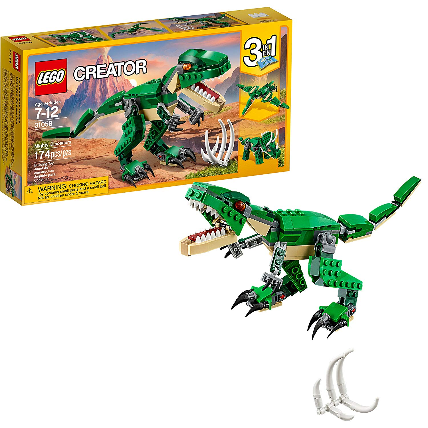 3.LEGO Creator 3-in-1 Mighty Dinosaurs (31058)