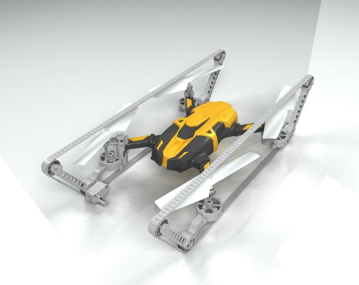 骏意设计履带四轴无人机案例