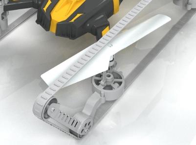履带四轴无人机的扇叶细节