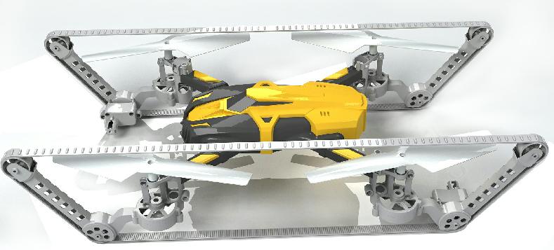 履带四轴无人机俯视图