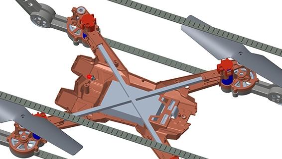 履带四轴无人机的交叉结构设计